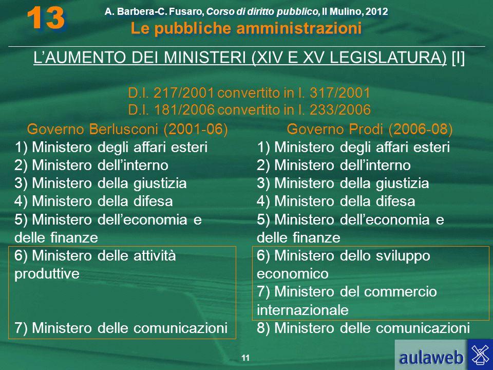 13 L'AUMENTO DEI MINISTERI (XIV E XV LEGISLATURA) [I]